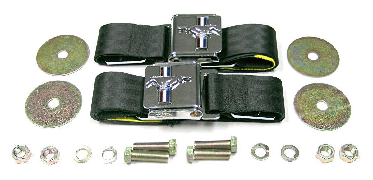 Mustang Tri Bar Seat Belts Pony Seat Belts Green PAIR
