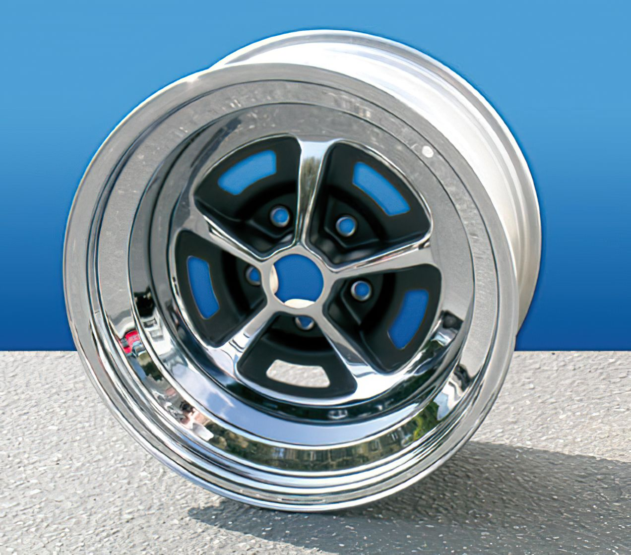 Mustang Wheel Rallye Chrome 5 Lug 14X6 64 1965 1966 67 68 69 70