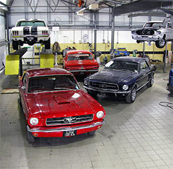 A few of the Ford Mustangs we restore in our workshop