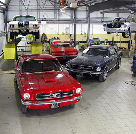 Our workshop filled with Mustangs.